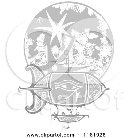 Clipart of a Blimp over the Moon Woodcut - Royalty Free Vector Illustration by xunantunich