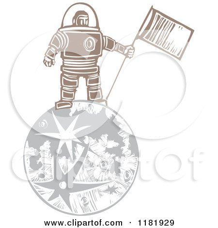 Clipart of a Male Astronaut Holding a Flag on the Moon Woodcut - Royalty Free Vector Illustration by xunantunich