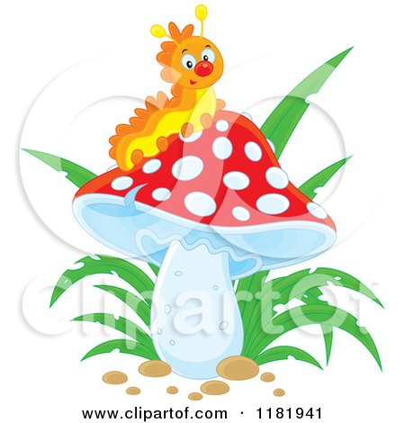 Cartoon of a Happy Caterpillar on a Mushroom - Royalty Free Vector Clipart by Alex Bannykh