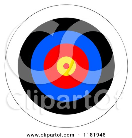 Clipart of a Target with Colorful Rings - Royalty Free Illustration by oboy