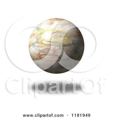 Clipart of a 3d Floating Fractal Globe and Shadow on White - Royalty Free CGI Illustration by oboy