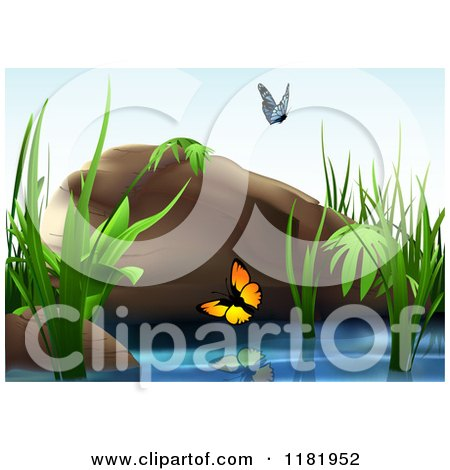 Clipart of a Backdrop of Butterflies over a Pond with Reeds and a Boulder - Royalty Free Vector Illustration by dero