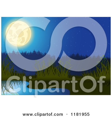 Clipart of a Backdrop of a Full Moon over a Pond and Reeds - Royalty Free Vector Illustration by dero