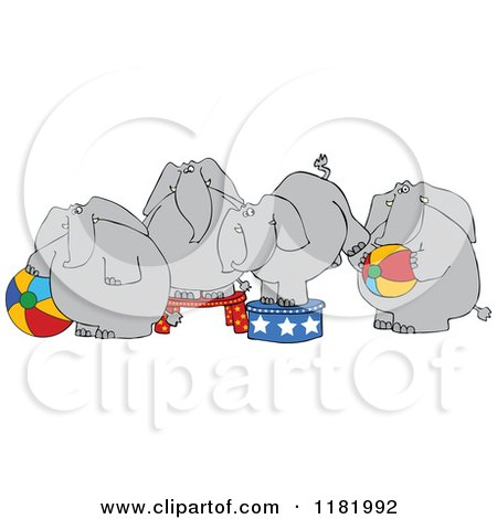Cartoon of Four Circus Elephants with Balls and Stands - Royalty Free Vector Clipart by djart