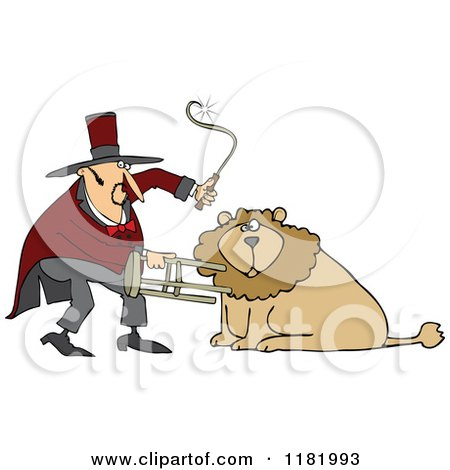 Cartoon of a Circus Lion Tamer Holding a Stool and Whip - Royalty Free Vector Clipart by djart