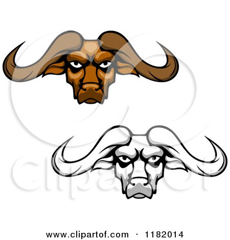 Clipart of Aggressive Brown and Grayscale Buffalo Heads with Long Horns - Royalty Free Vector Illustration by Vector Tradition SM