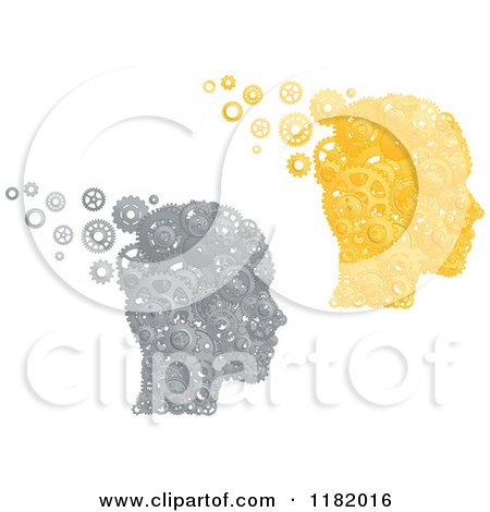 Clipart of Heads Formed of Silver and Gold Pistons and Gears - Royalty Free Vector Illustration by Vector Tradition SM
