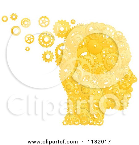 Clipart of a Head Formed of Gold Pistons and Gears - Royalty Free Vector Illustration by Vector Tradition SM