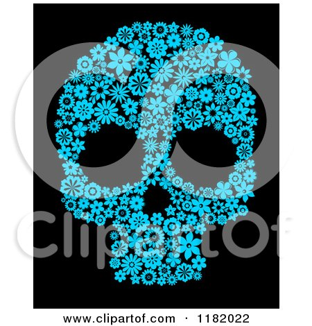 Clipart of a Blue Floral Skull on Black - Royalty Free Vector Illustration by Vector Tradition SM