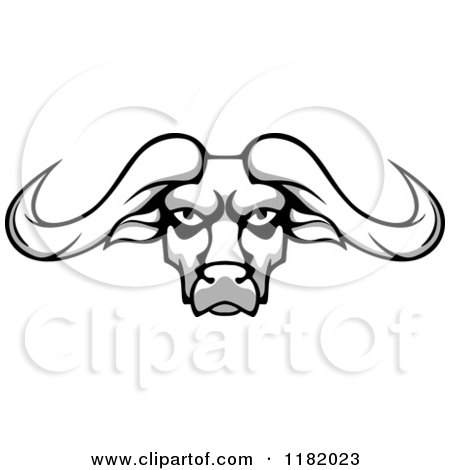 Clipart of an Aggressive Grayscale Buffalo Head with Long Horns - Royalty Free Vector Illustration by Vector Tradition SM
