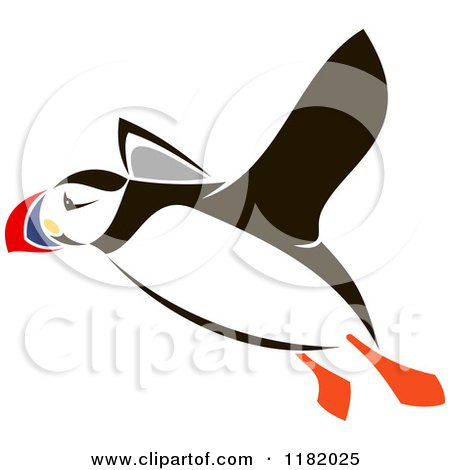 Clipart of a Flying Puffin Bird - Royalty Free Vector Illustration by Vector Tradition SM
