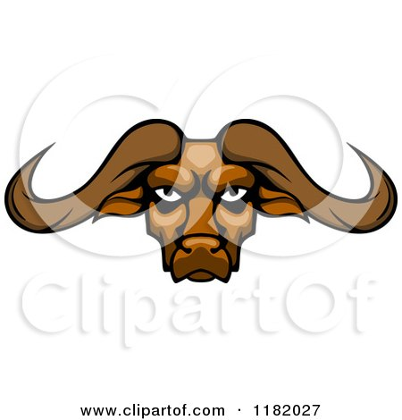 Clipart of an Aggressive Buffalo Head with Long Horns - Royalty Free Vector Illustration by Vector Tradition SM
