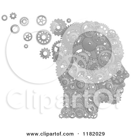 Clipart of a Head Formed of Silver Pistons and Gears - Royalty Free Vector Illustration by Vector Tradition SM