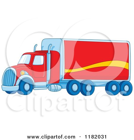 Cartoon of a Red Big Rig Truck - Royalty Free Vector Clipart by yayayoyo