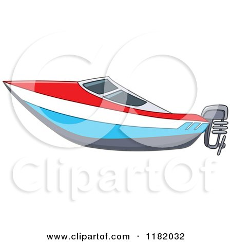 Cartoon of a Red White and Blue Speed Boat - Royalty Free Vector Clipart by yayayoyo