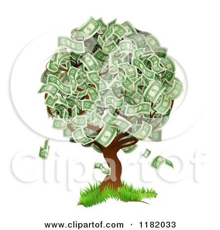 Cartoon of a Money Tree Abundant with Cash Foliage - Royalty Free Vector Clipart by AtStockIllustration