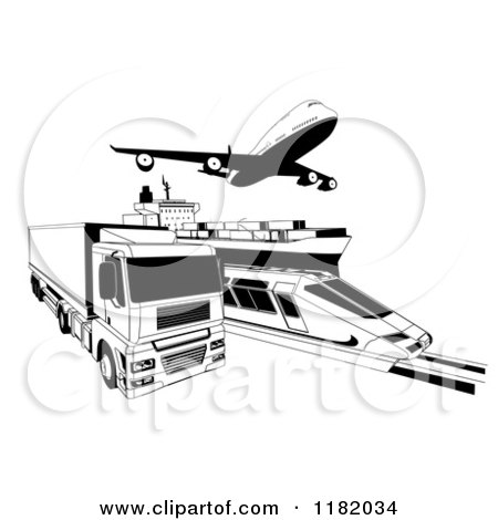 Clipart of Black and White Cargo Logistics Modes Including a Train Plane Big Rig and Ship - Royalty Free Vector Illustration by AtStockIllustration
