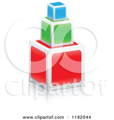 Clipart of 3d Stacked Colorful Cubes - Royalty Free Vector Illustration by Andrei Marincas
