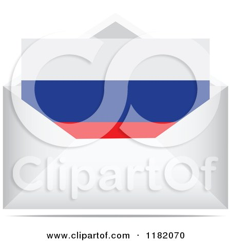 Clipart of a Russian Flag Letter in an Envelope - Royalty Free Vector Illustration by Andrei Marincas