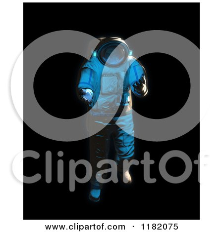 Clipart of a 3d Weightless Astronaut Floating on Blackness - Royalty Free CGI Illustration by Mopic