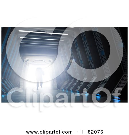 Clipart of a 3d Astronaut Walking Through a Hallway to a Bright Light - Royalty Free CGI Illustration by Mopic