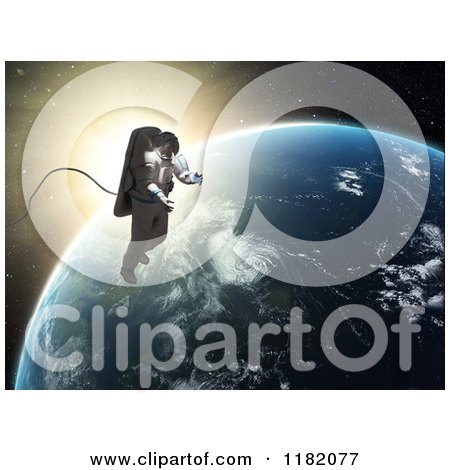 Clipart of a 3d Astronaut Doing a Space Walk Against Sunrise and Earth - Royalty Free CGI Illustration by Mopic