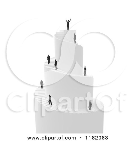 Clipart of a 3d Successful Businessman Atop a Spiral Stair Tower - Royalty Free CGI Illustration by Mopic