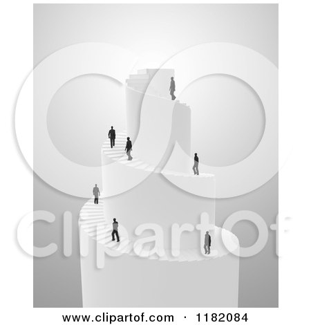 Clipart of 3d Businessmen Climbing a Spiral Stair Tower - Royalty Free CGI Illustration by Mopic