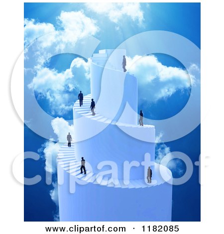 Clipart of 3d Businessmen Climbing a Spiral Stair Tower to Heaven - Royalty Free CGI Illustration by Mopic