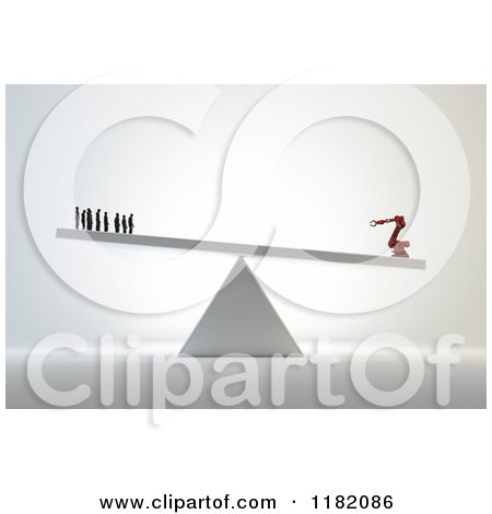 Clipart of a 3d Industrial Robot Outweighing Human Workers on a Teeter Totter - Royalty Free CGI Illustration by Mopic
