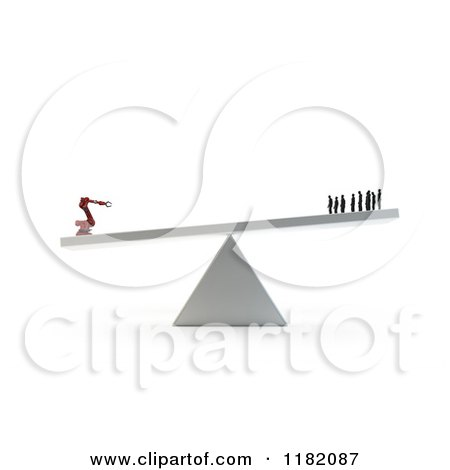 Clipart of a 3d Industrial Robot Outweighing Human Workers on a Teeter Totter 2 - Royalty Free CGI Illustration by Mopic