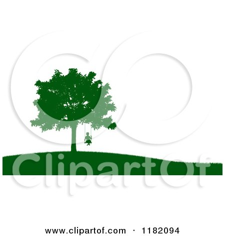 Clipart of a Green Silhouetted Boy on a Tree Swing on a Hill, over White - Royalty Free CGI Illustration by Mopic