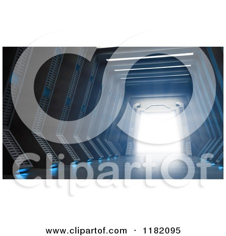 Clipart of a 3d Science Fiction Hall and Gate with Bright Light - Royalty Free CGI Illustration by Mopic