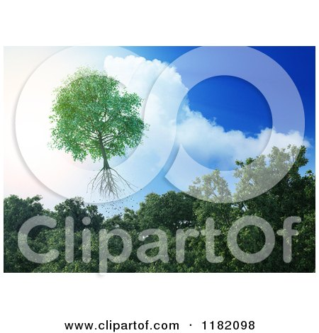 Clipart of a 3d Tree Flying Away from a Forest and into the Sky - Royalty Free CGI Illustration by Mopic