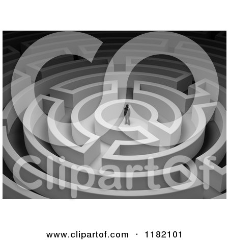 Clipart of a 3d Small Man in the Center of a Round Maze - Royalty Free CGI Illustration by Mopic