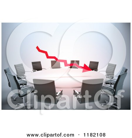 Clipart of a 3d Red Arrow Floating over a Meeting Table - Royalty Free CGI Illustration by Mopic