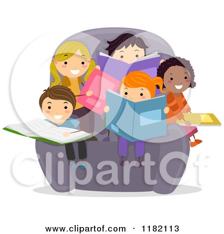 Cartoon of a Group of Happy Diverse Children Reading Books in a Chair - Royalty Free Vector Clipart by BNP Design Studio