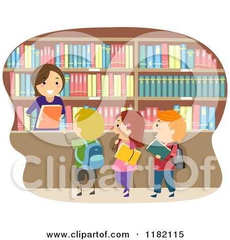 Cartoon of a Happy Librarian Handing Books to Children - Royalty Free Vector Clipart by BNP Design Studio