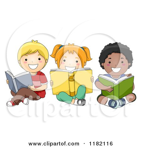 Cartoon of Happy Diverse Children Reading Books on the Floor - Royalty Free Vector Clipart by BNP Design Studio
