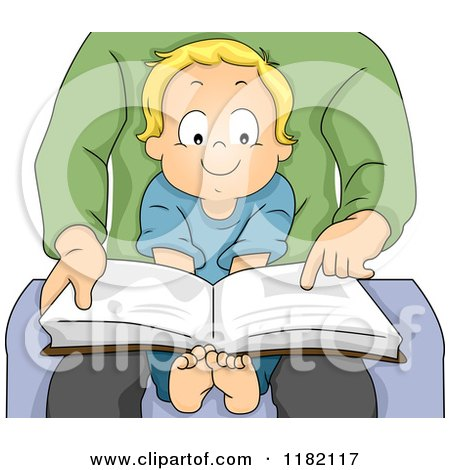 Cartoon of a Happy Blond Toddler Boy Sitting in His Dads Lap and Reading a Story Book - Royalty Free Vector Clipart by BNP Design Studio