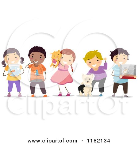 Cartoon of Happy Diverse Children with Their Pets - Royalty Free Vector Clipart by BNP Design Studio