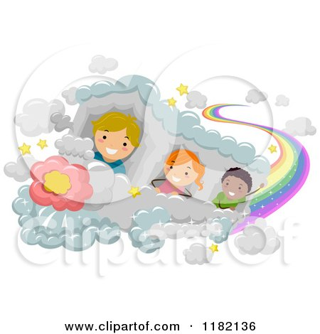 Cartoon Of Happy Diverse School Children Riding A Cloud Train With A Rainbow Trail Royalty Free Vector Clipart