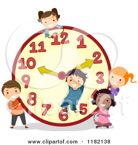 Cartoon of Happy Diverse School Children with a Giant Clock - Royalty Free Vector Clipart by BNP Design Studio