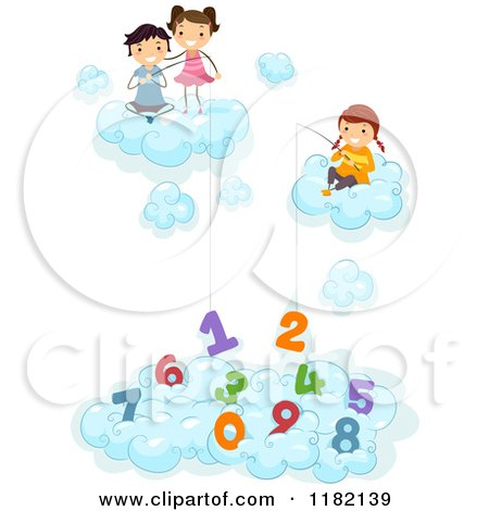 Cartoon of Happy Diverse School Children in Clouds, Fishing for Numbers - Royalty Free Vector Clipart by BNP Design Studio