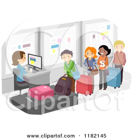 Cartoon of Happy People in the Luggage Check Airport Line - Royalty Free Vector Clipart by BNP Design Studio