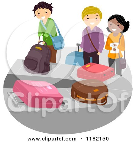 Cartoon of a Diverse Group of Travelers at the Baggage Claim Carousel - Royalty Free Vector Clipart by BNP Design Studio