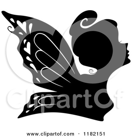 Cartoon of a Black Silhouetted Fairy Woman - Royalty Free Vector Clipart by BNP Design Studio