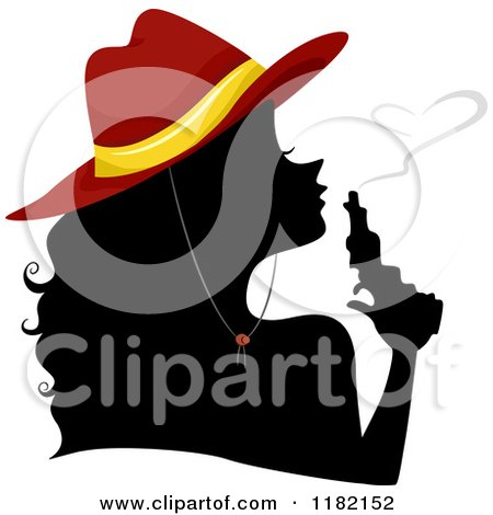 Cartoon of a Silhouetted Cowgirl Wearing a Red Hat and Blowing Heart Smoke from a Gun - Royalty Free Vector Clipart by BNP Design Studio