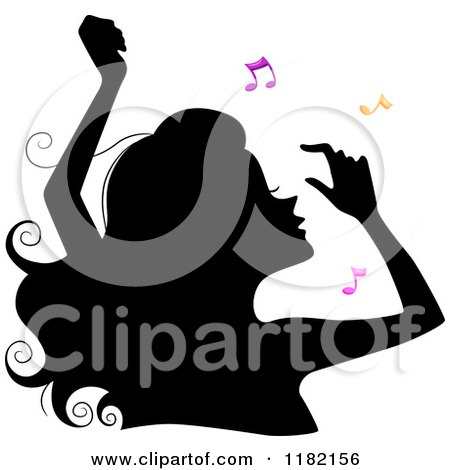 Cartoon of a Black Silhouetted Woman Dancing with Colorful Music Notes - Royalty Free Vector Clipart by BNP Design Studio