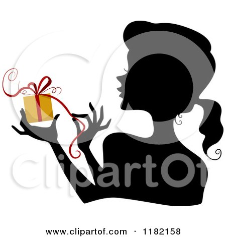 Cartoon of a Black Silhouetted Woman Holding and Opening a Yellow Gift - Royalty Free Vector Clipart by BNP Design Studio